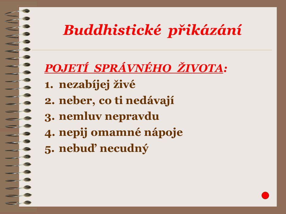 Buddhistické přikázání POJETÍ SPRÁVNÉHO ŽIVOTA: 1.nezabíjej živé 2.neber, co ti nedávají 3.nemluv nepravdu 4.nepij omamné nápoje 5.nebuď necudný