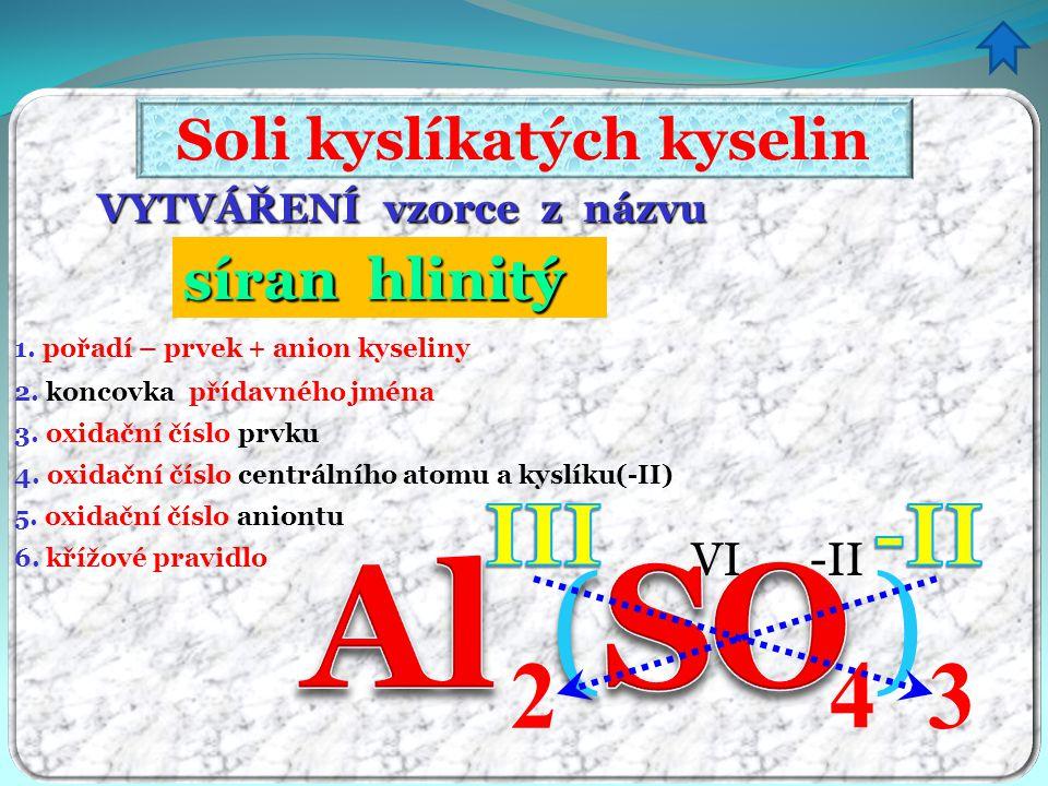 VYTVÁŘENÍ vzorce z názvu Soli kyslíkatých kyselin 1. pořadí – prvek + anion kyseliny 3. oxidační číslo prvku 4. oxidační číslo centrálního atomu a kys