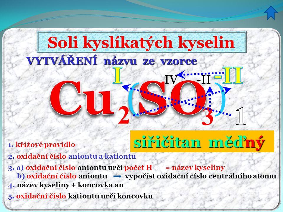 VYTVÁŘENÍ názvu ze vzorce Soli kyslíkatých kyselin 1. křížové pravidlo 4. název kyseliny + koncovka an 5. oxidační číslo kationtu určí koncovku 2. oxi