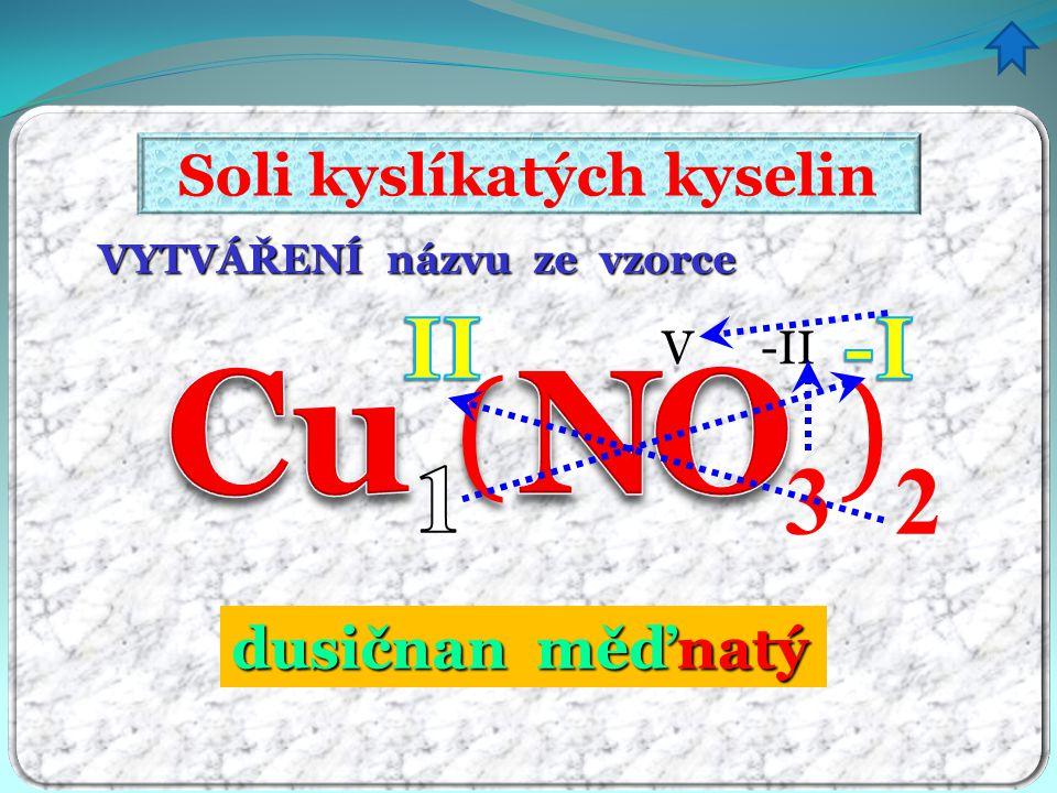 VYTVÁŘENÍ názvu ze vzorce Soli kyslíkatých kyselin 3 () V -II 2 dusičnanměďnatý