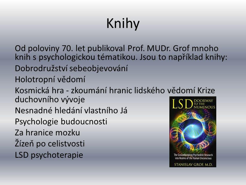 Knihy Od poloviny 70. let publikoval Prof. MUDr. Grof mnoho knih s psychologickou tématikou. Jsou to například knihy: Dobrodružství sebeobjevování Ho