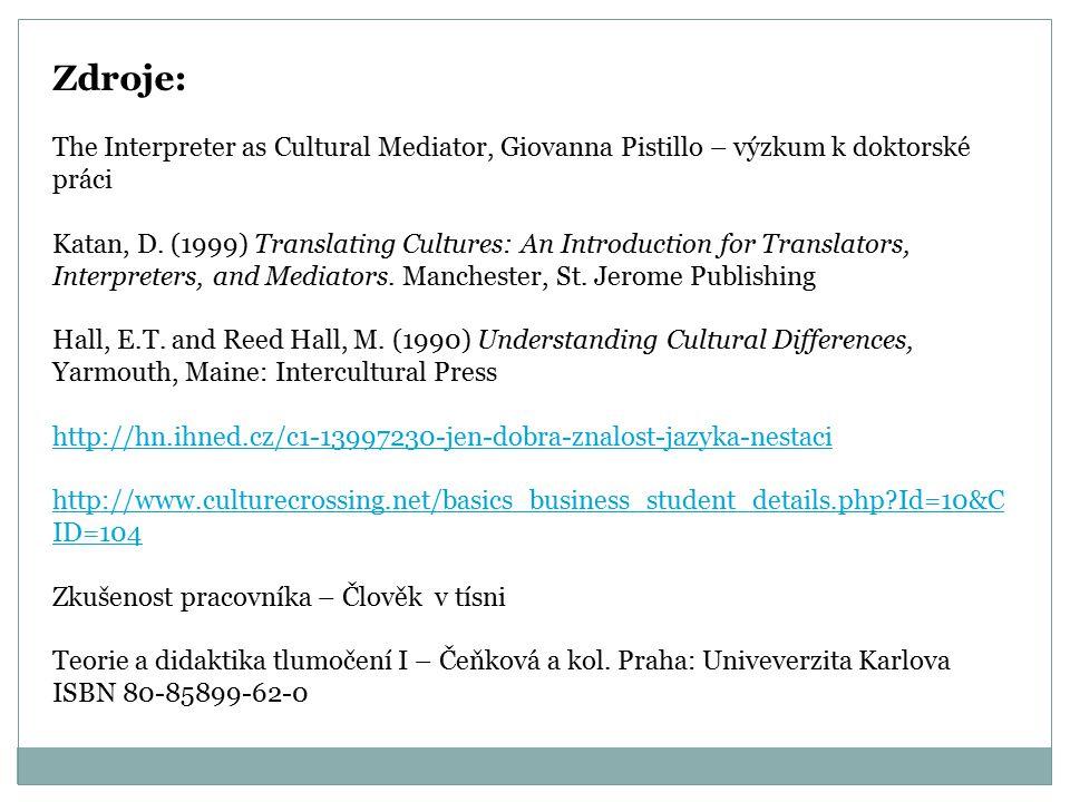 Zdroje: The Interpreter as Cultural Mediator, Giovanna Pistillo – výzkum k doktorské práci Katan, D.