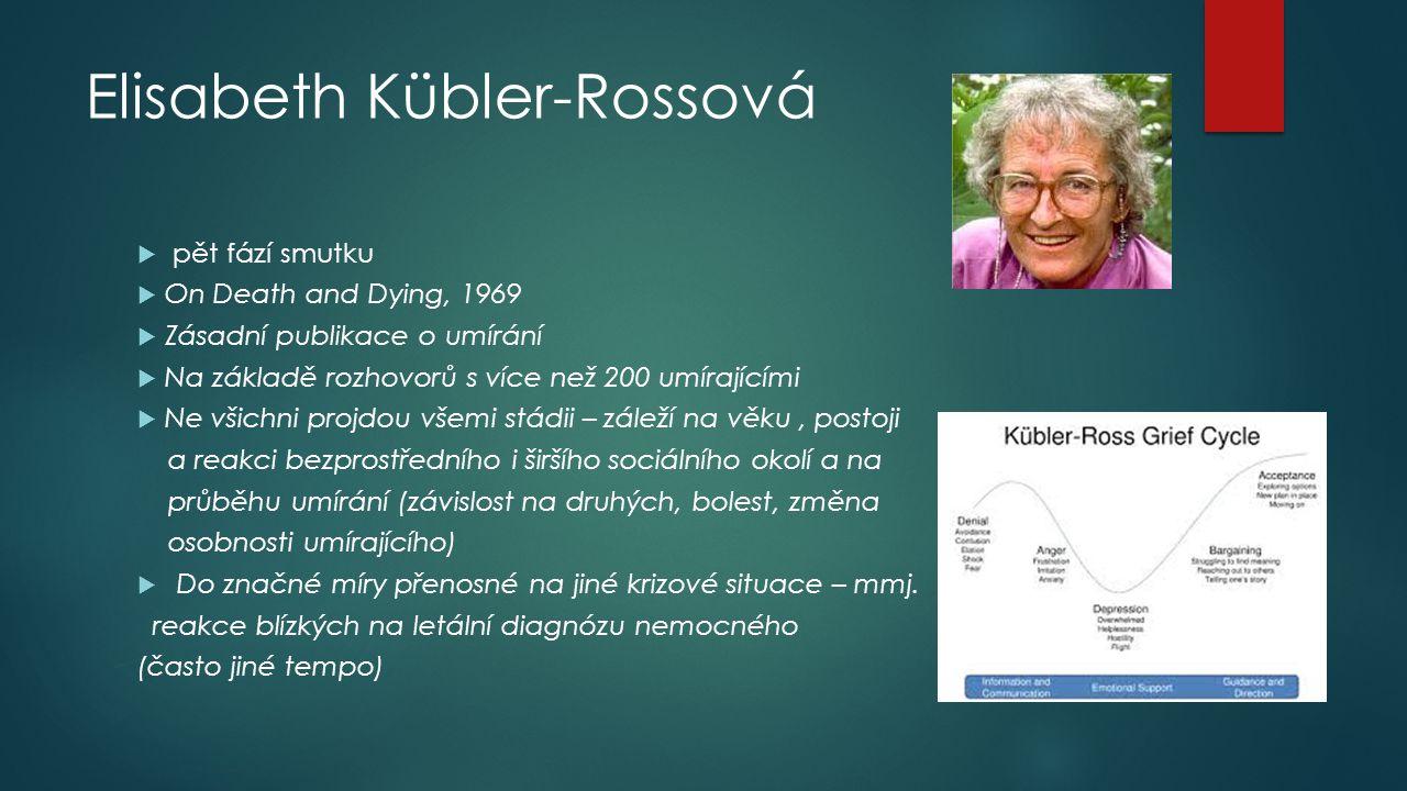 Elisabeth Kübler-Rossová  pět fází smutku  On Death and Dying, 1969  Zásadní publikace o umírání  Na základě rozhovorů s více než 200 umírajícími