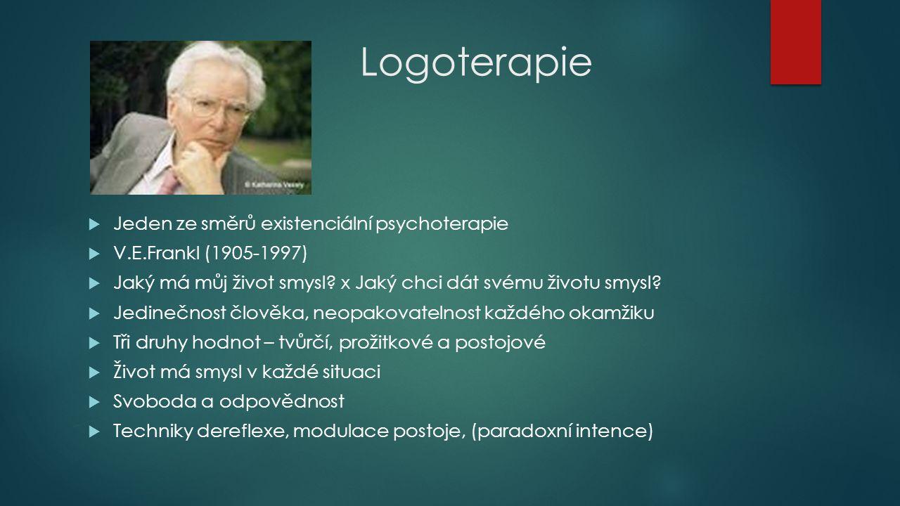 Logoterapie  Jeden ze směrů existenciální psychoterapie  V.E.Frankl (1905-1997)  Jaký má můj život smysl? x Jaký chci dát svému životu smysl?  Jed