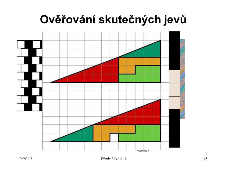 9/2012Přednáška č. 115 Ověřování skutečných jevů