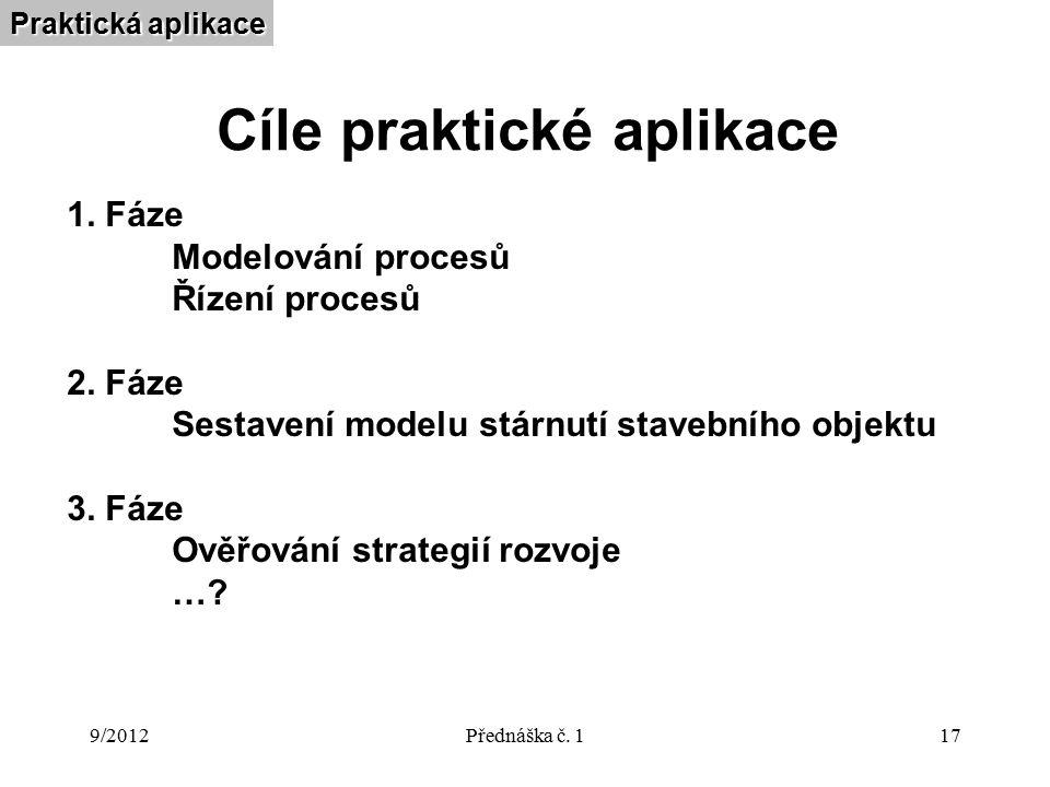 9/2012Přednáška č. 117 Cíle praktické aplikace Praktická aplikace 1.