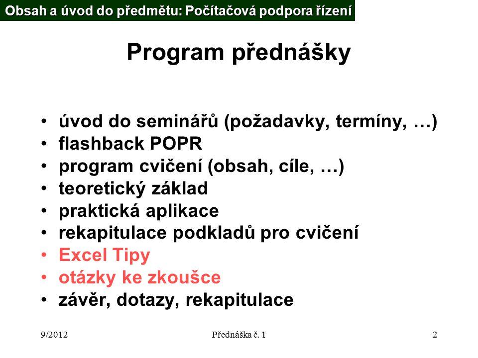 9/2012Přednáška č.