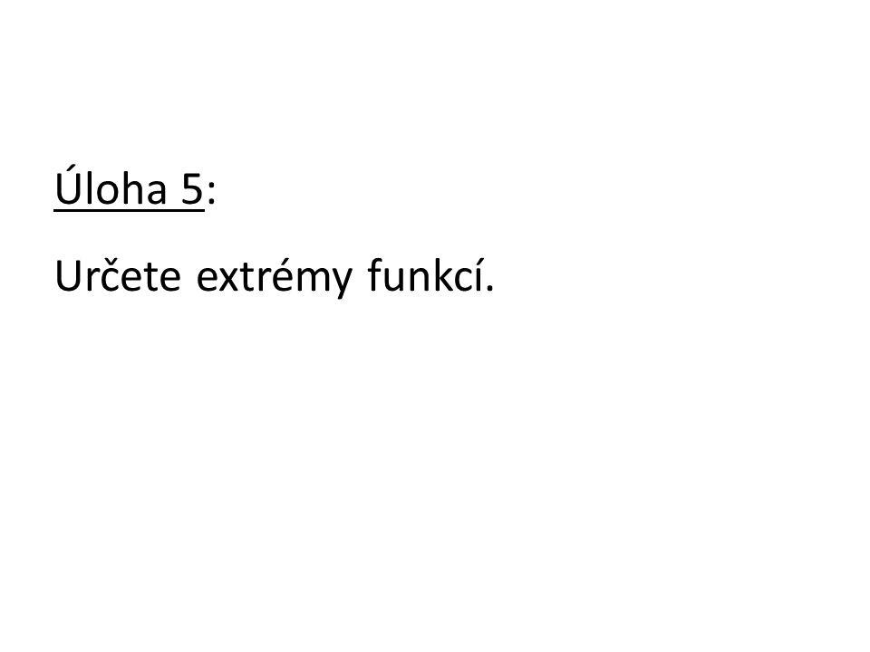 Úloha 5: Určete extrémy funkcí.
