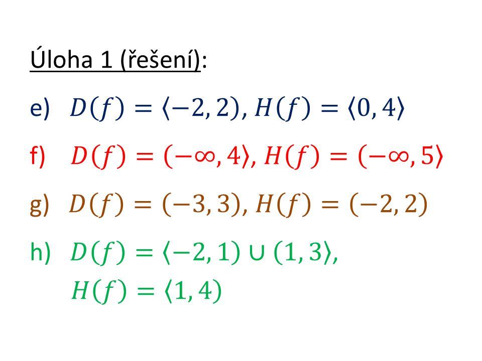 Úloha 2: Které funkce jsou prosté? Úloha 2 (řešení): a) g)