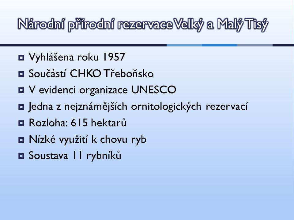  Vyhlášena roku 1957  Součástí CHKO Třeboňsko  V evidenci organizace UNESCO  Jedna z nejznámějších ornitologických rezervací  Rozloha: 615 hektarů  Nízké využití k chovu ryb  Soustava 11 rybníků