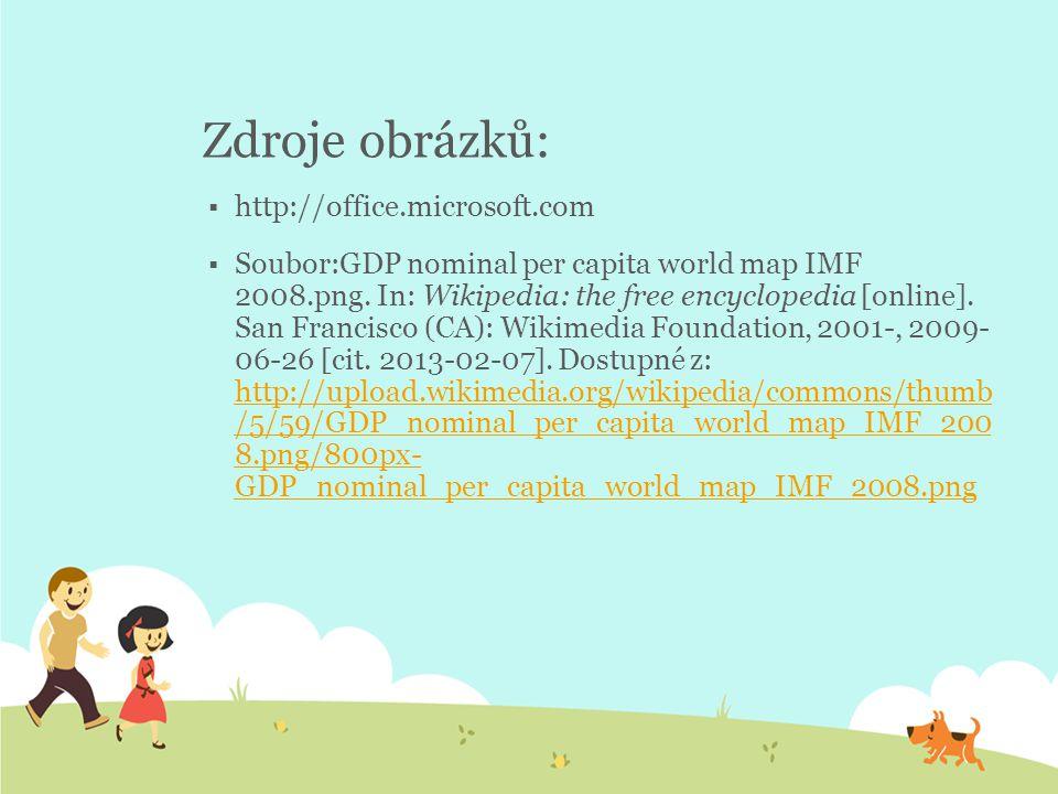 Zdroje obrázků:  http://office.microsoft.com  Soubor:GDP nominal per capita world map IMF 2008.png.