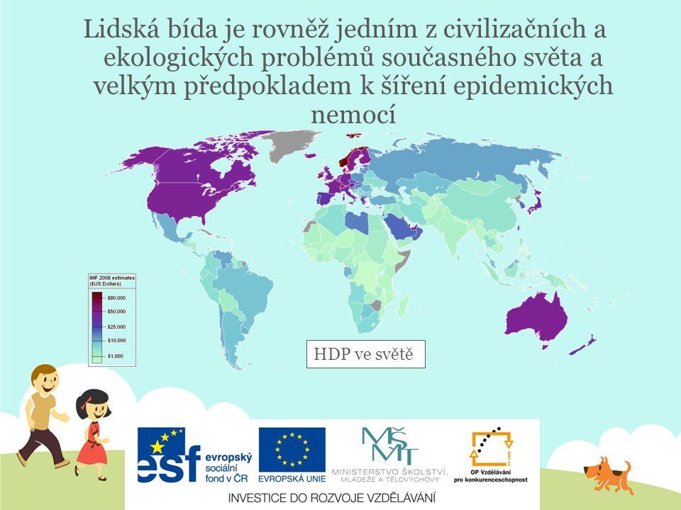 Lidská bída je rovněž jedním z civilizačních a ekologických problémů současného světa a velkým předpokladem k šíření epidemických nemocí HDP ve světě