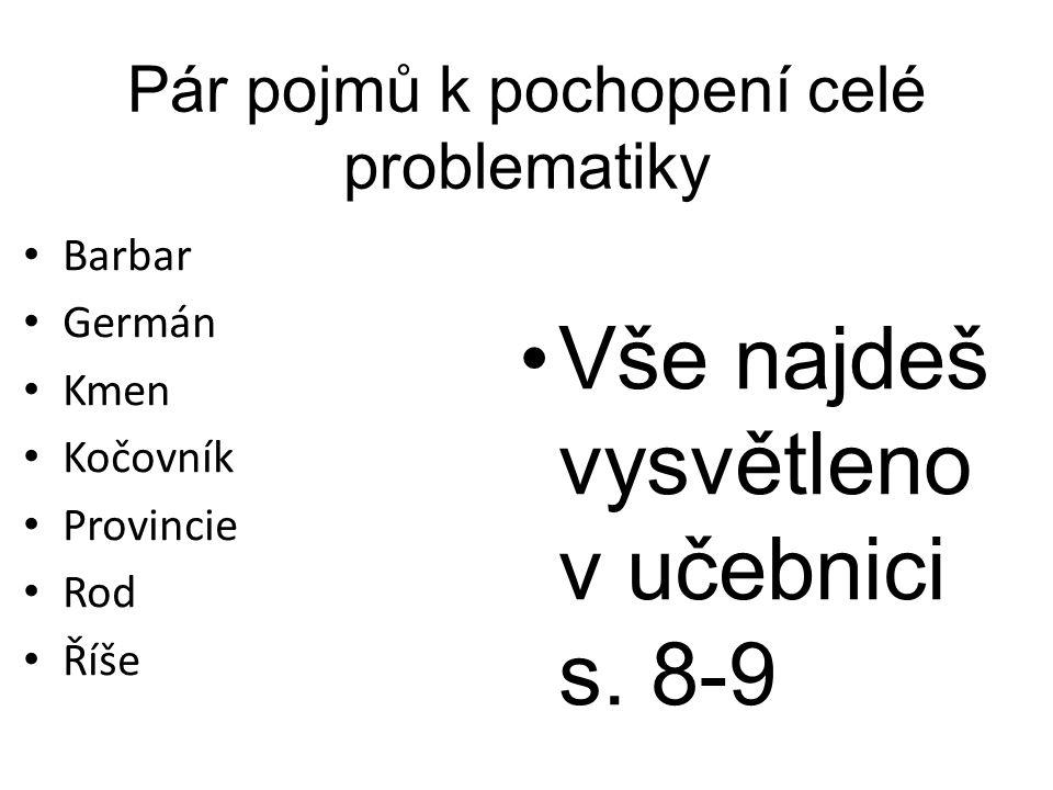 Pár pojmů k pochopení celé problematiky Barbar Germán Kmen Kočovník Provincie Rod Říše Vše najdeš vysvětleno v učebnici s. 8-9