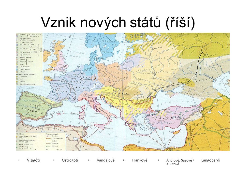 Vznik nových států (říší) Vizigóti Ostrogóti Vandalové Frankové Anglové, Sasové a Jutové Langobardi