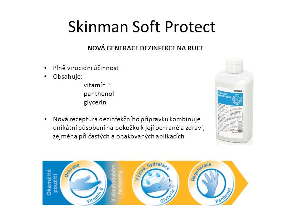 Skinman Soft Protect NOVÁ GENERACE DEZINFEKCE NA RUCE Plně virucidní účinnost Obsahuje: vitamín E panthenol glycerin Nová receptura dezinfekčního příp