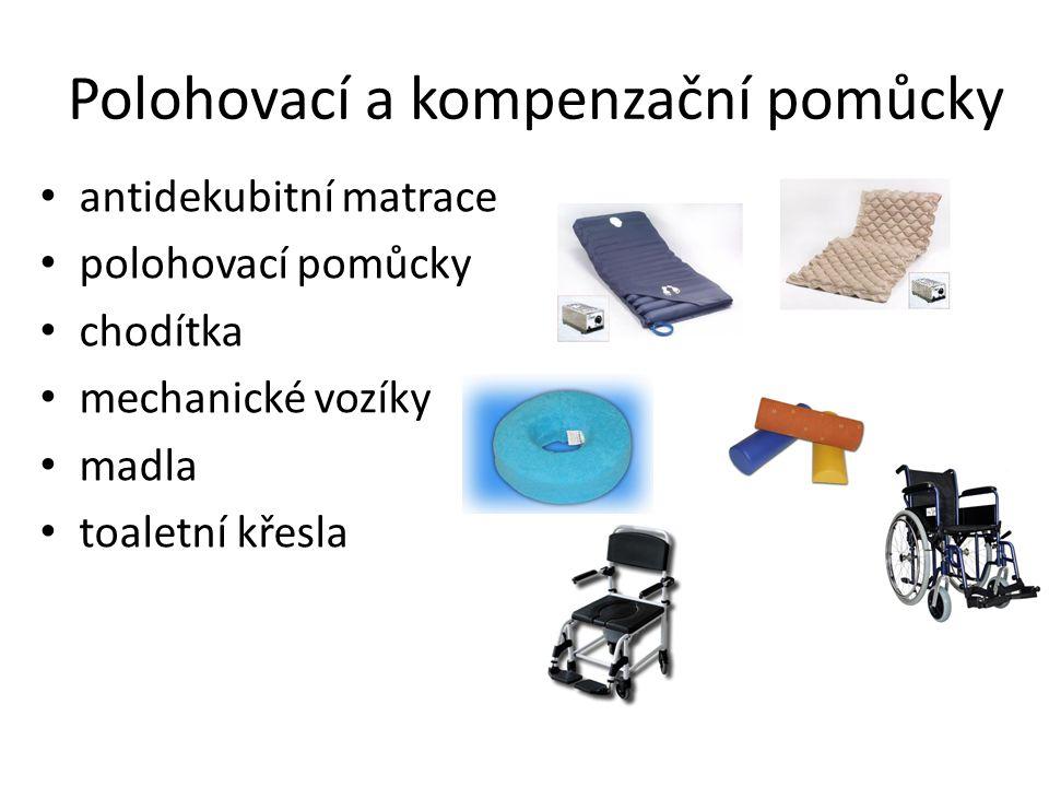 antidekubitní matrace polohovací pomůcky chodítka mechanické vozíky madla toaletní křesla Polohovací a kompenzační pomůcky