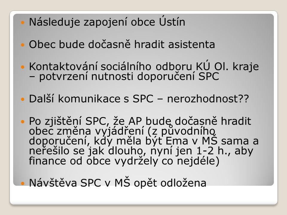 Následuje zapojení obce Ústín Obec bude dočasně hradit asistenta Kontaktování sociálního odboru KÚ Ol.