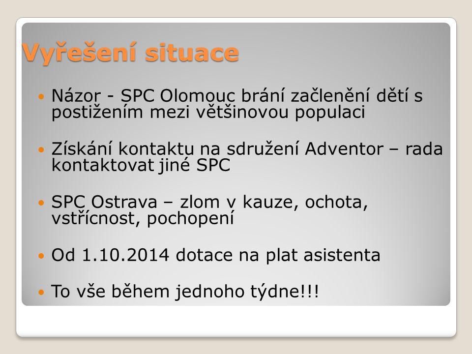 Vyřešení situace Názor - SPC Olomouc brání začlenění dětí s postižením mezi většinovou populaci Získání kontaktu na sdružení Adventor – rada kontaktovat jiné SPC SPC Ostrava – zlom v kauze, ochota, vstřícnost, pochopení Od 1.10.2014 dotace na plat asistenta To vše během jednoho týdne!!!