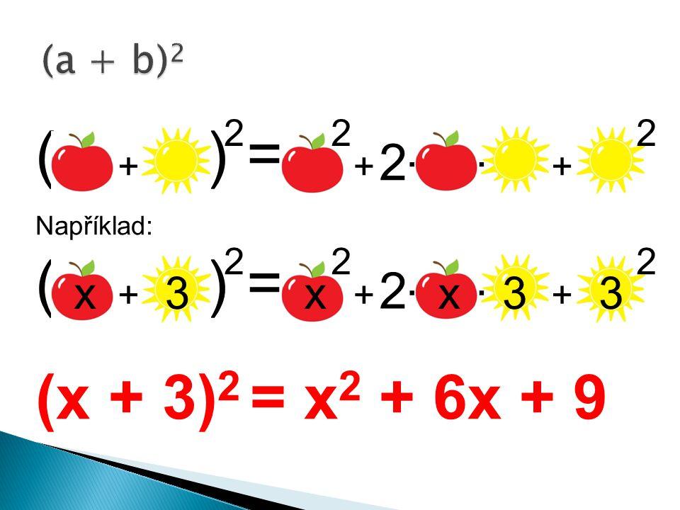 ( ) = Například: ( ) = (x + 3) 2 = x 2 + 6x + 9 2 222 +++.. 2 222 +++.. x3xx33