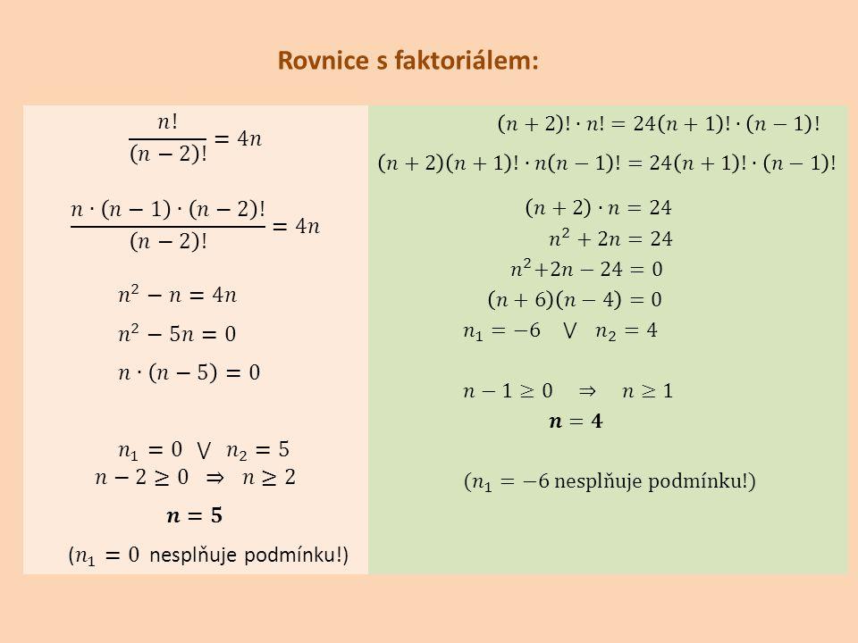 Rovnice s faktoriálem: