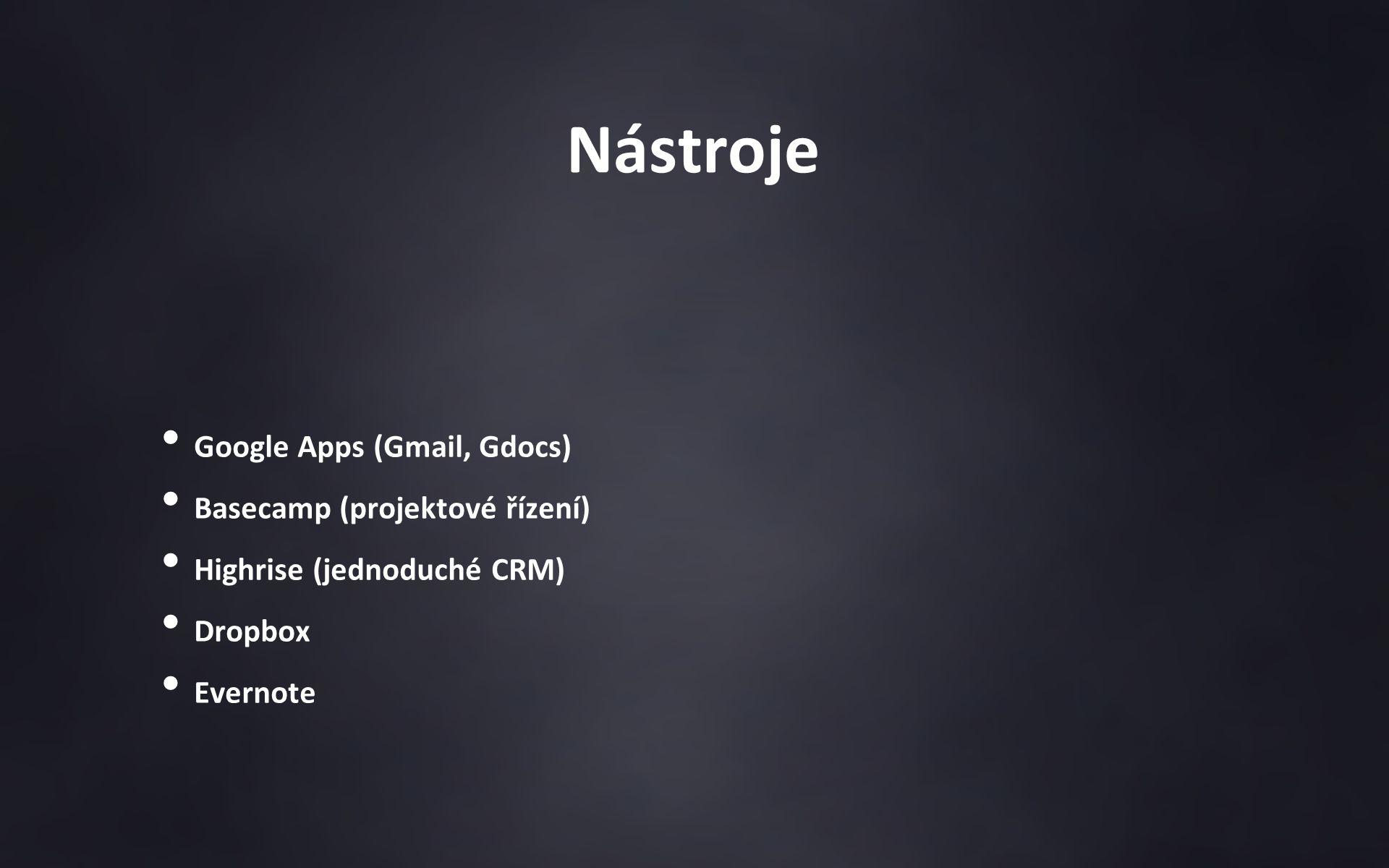 Nástroje Google Apps (Gmail, Gdocs) Basecamp (projektové řízení) Highrise (jednoduché CRM) Dropbox Evernote