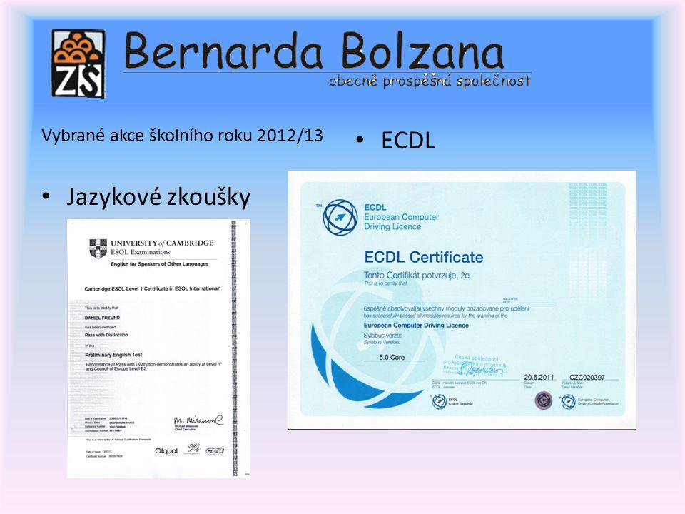 Vybrané akce školního roku 2012/13 Jazykové zkoušky ECDL