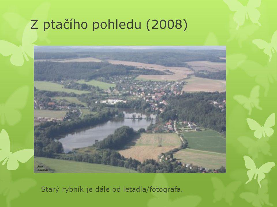 Z ptačího pohledu (2008) Starý rybník je dále od letadla/fotografa.