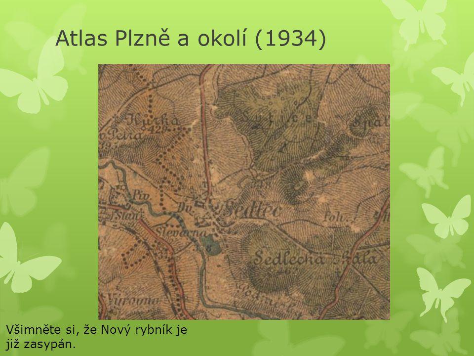 Atlas Plzně a okolí (1934) Všimněte si, že Nový rybník je již zasypán.