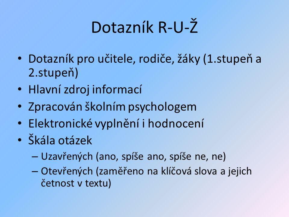 Dotazník R-U-Ž Dotazník pro učitele, rodiče, žáky (1.stupeň a 2.stupeň) Hlavní zdroj informací Zpracován školním psychologem Elektronické vyplnění i h