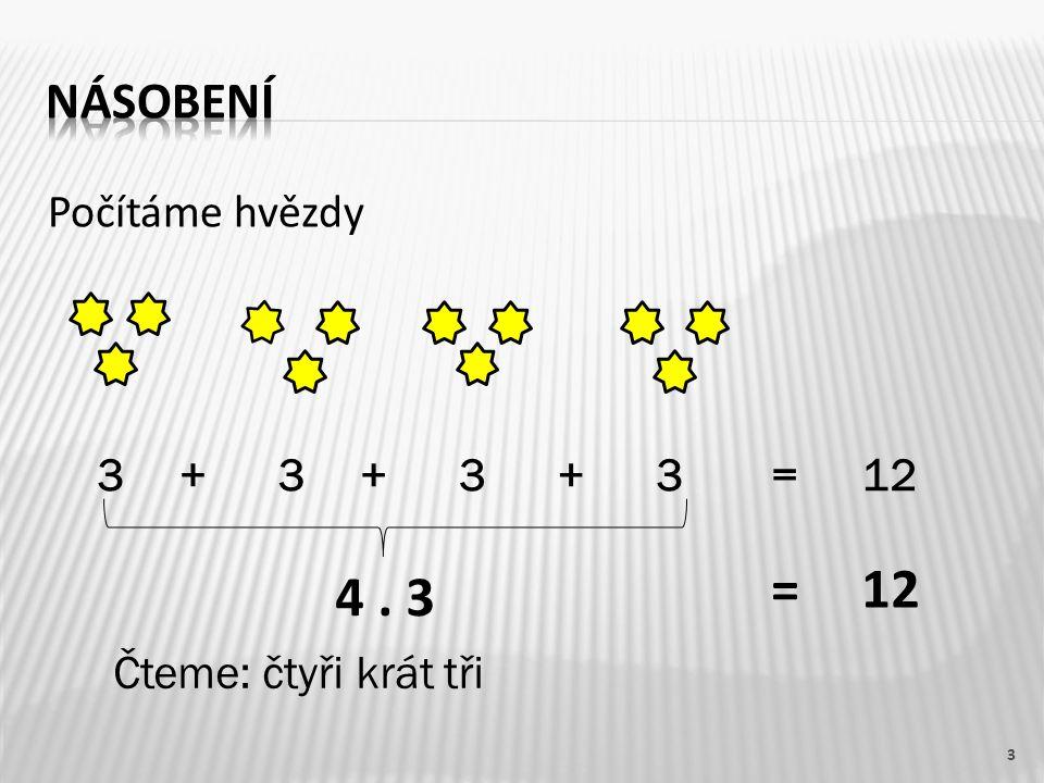 Počítáme hvězdy 3 3+333++=12 4. 3 Čteme: čtyři krát tři =12