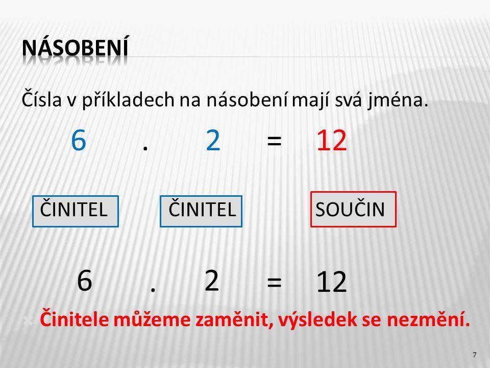 7 Čísla v příkladech na násobení mají svá jména.6.