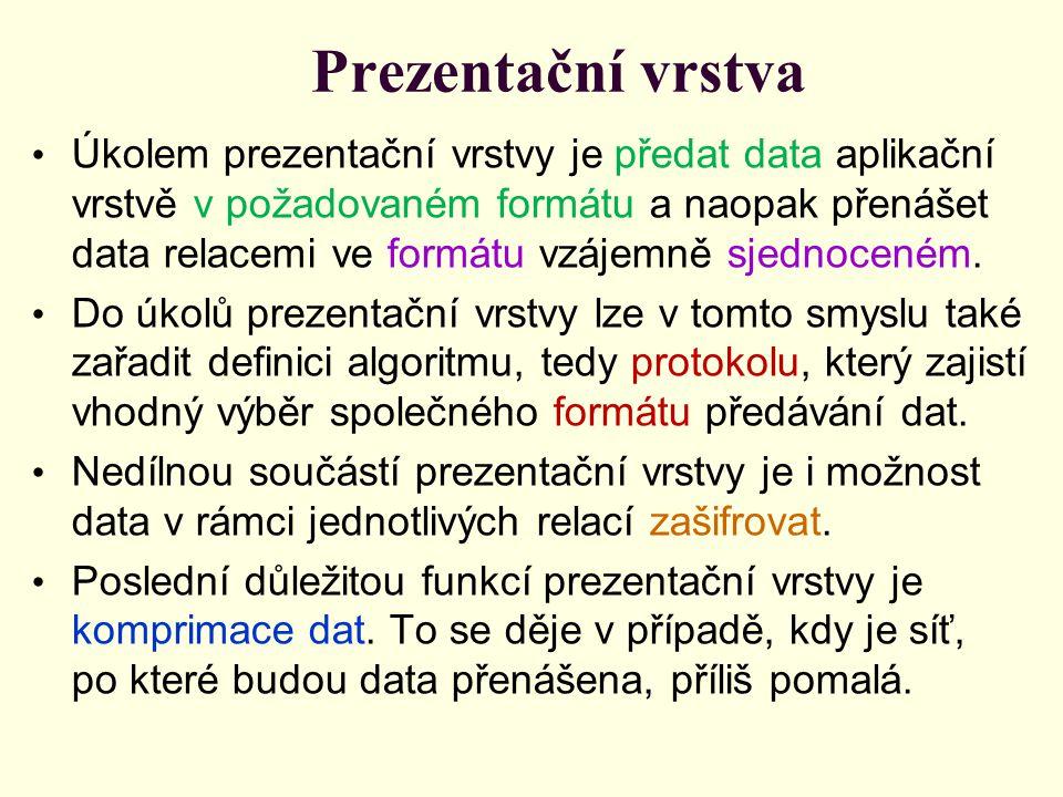 Prezentační vrstva Úkolem prezentační vrstvy je předat data aplikační vrstvě v požadovaném formátu a naopak přenášet data relacemi ve formátu vzájemně sjednoceném.