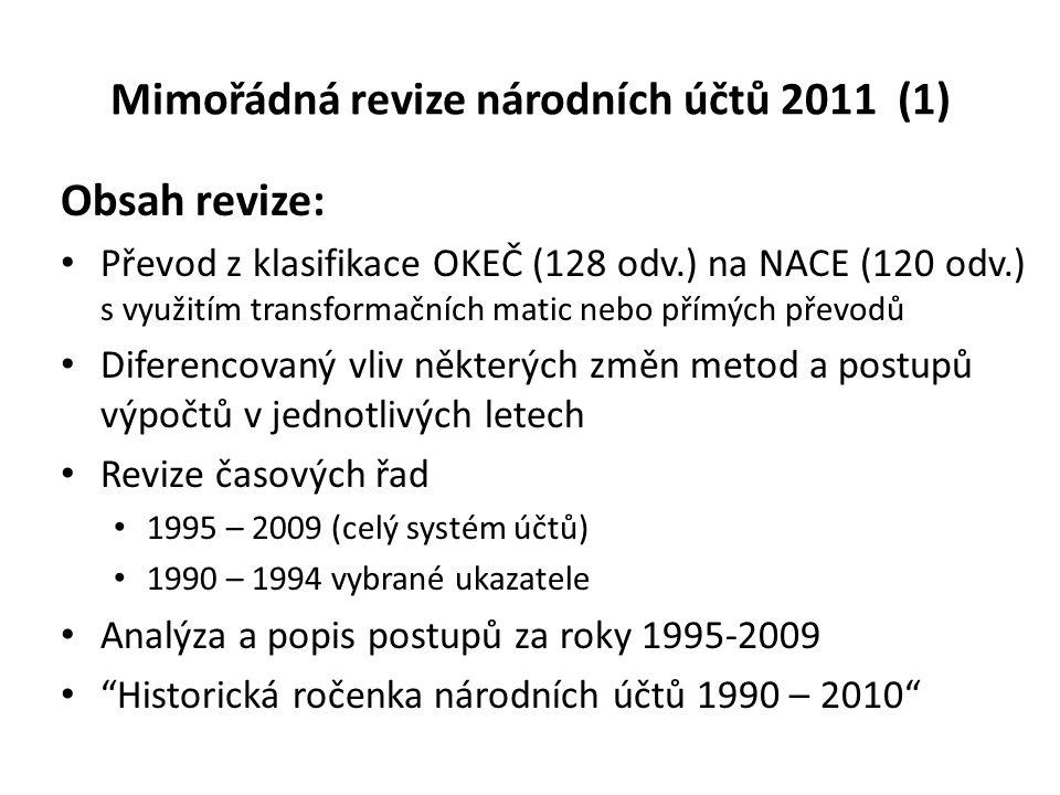 Mimořádná revize národních účtů 2011 (1) Obsah revize: Převod z klasifikace OKEČ (128 odv.) na NACE (120 odv.) s využitím transformačních matic nebo p