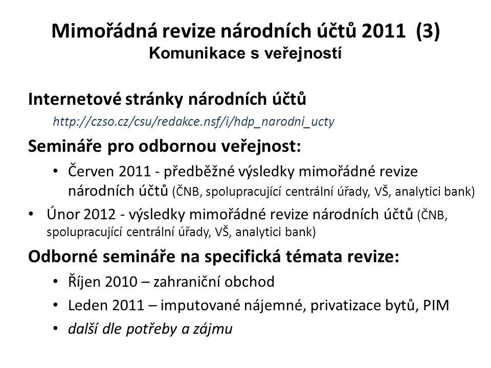 Internetové stránky národních účtů http://czso.cz/csu/redakce.nsf/i/hdp_narodni_ucty Semináře pro odbornou veřejnost: Červen 2011 - předběžné výsledky