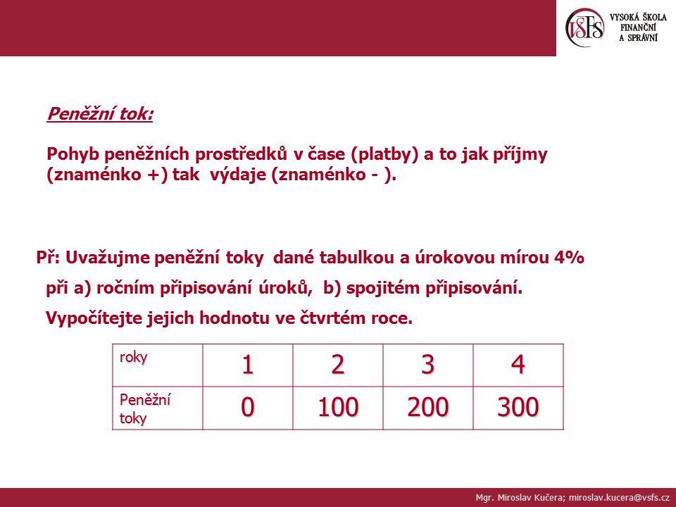 Mgr. Miroslav Kučera; miroslav.kucera@vsfs.cz Peněžní tok: Pohyb peněžních prostředků v čase (platby) a to jak příjmy (znaménko +) tak výdaje (znaménk