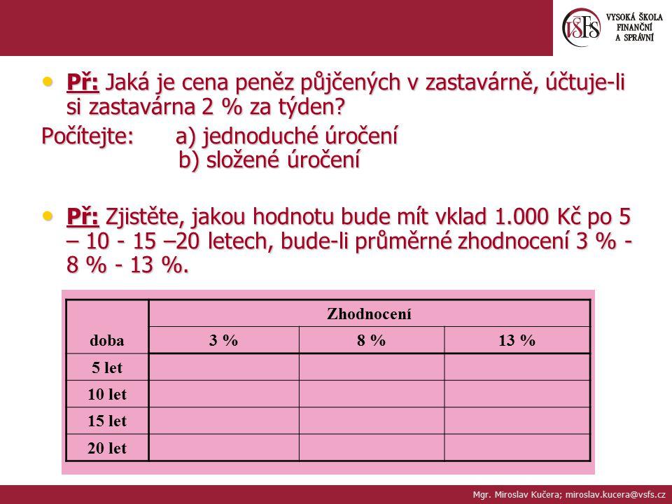 2.Přepočet ročních úrokových sazeb při různé periodě připisování úroků.