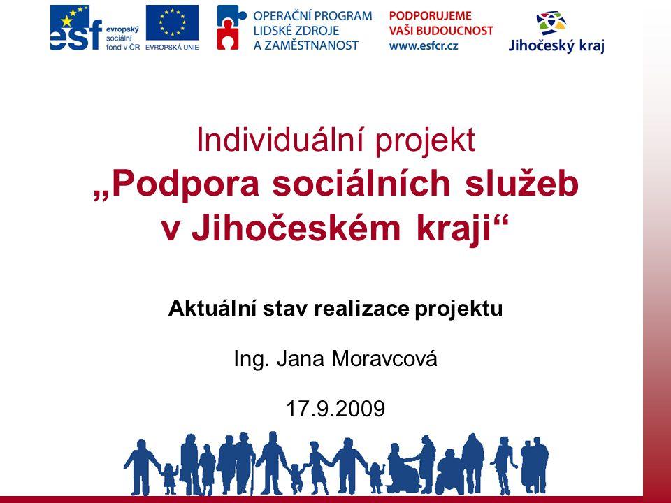 """Individuální projekt """"Podpora sociálních služeb v Jihočeském kraji Aktuální stav realizace projektu Ing."""