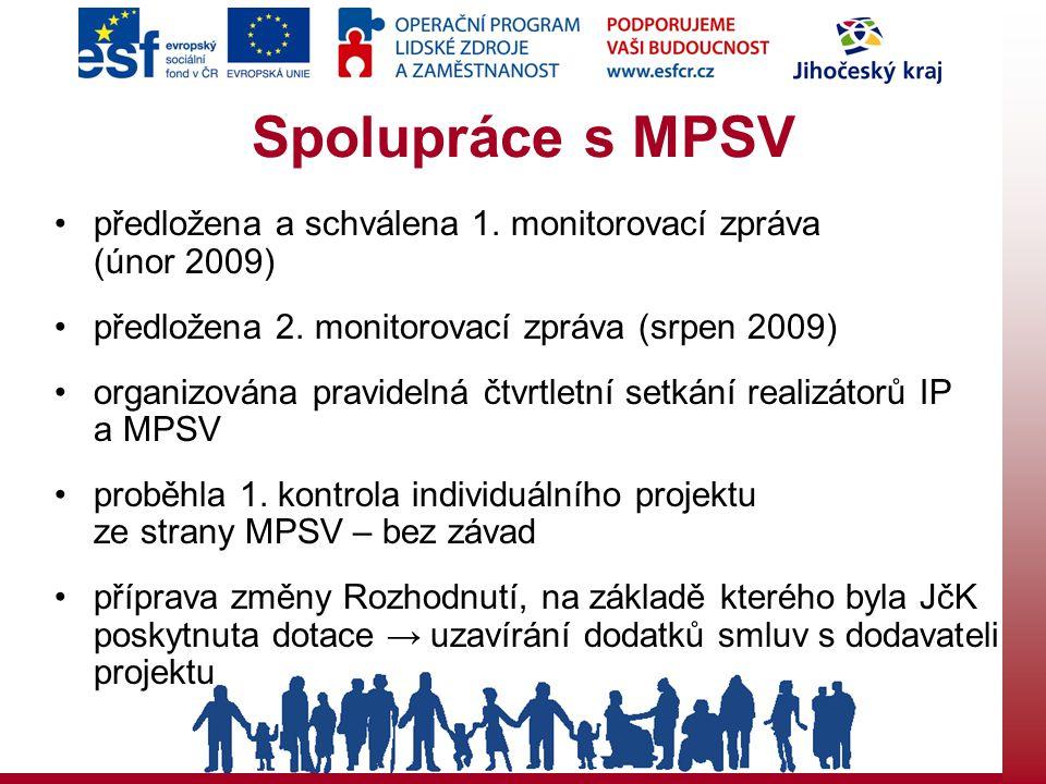 Spolupráce s MPSV předložena a schválena 1. monitorovací zpráva (únor 2009) předložena 2.