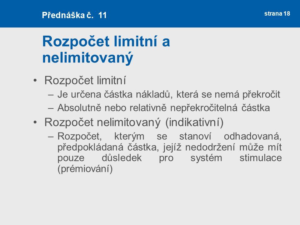 Rozpočet limitní a nelimitovaný Rozpočet limitní –Je určena částka nákladů, která se nemá překročit –Absolutně nebo relativně nepřekročitelná částka R
