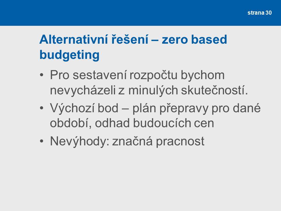 Alternativní řešení – zero based budgeting Pro sestavení rozpočtu bychom nevycházeli z minulých skutečností. Výchozí bod – plán přepravy pro dané obdo