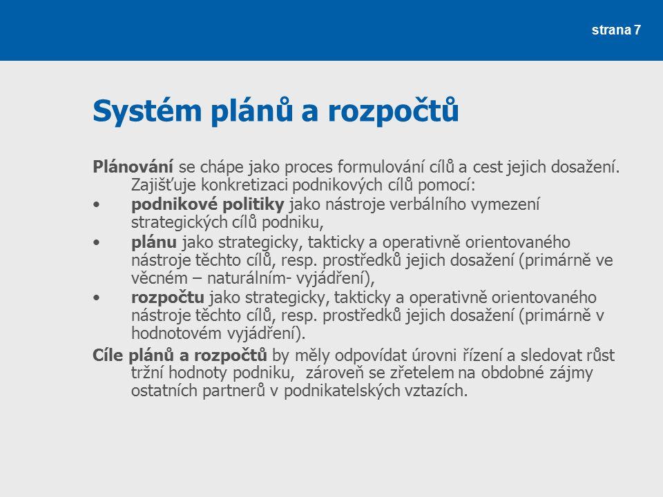 Systém plánů a rozpočtů Plánování se chápe jako proces formulování cílů a cest jejich dosažení. Zajišťuje konkretizaci podnikových cílů pomocí: podnik