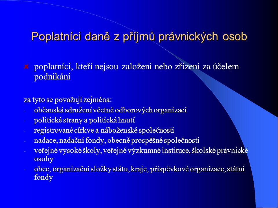 Poplatníci daně z příjmů právnických osob osoby, které nejsou fyzickými osobami vč. organizačních složek státu REZIDENT  poplatníci, kteří mají na úz