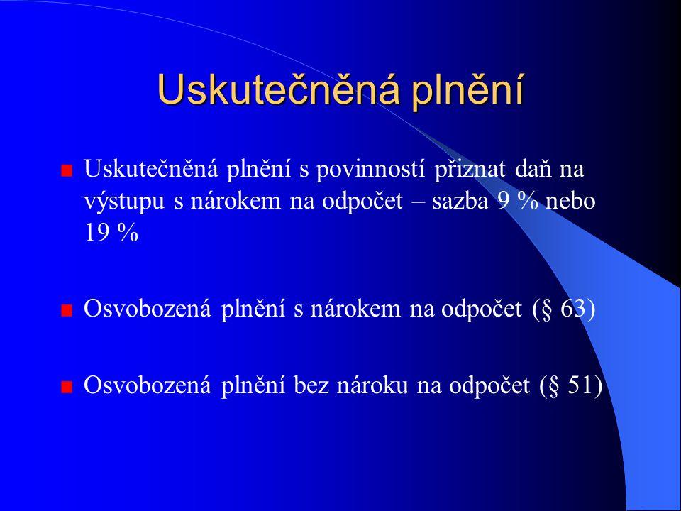 Osvobozená plnění bez nároku na odpočet (§ 51) poštovní služby rozhlasové a televizní vysílání finanční a pojišťovací činnosti převod a nájem pozemků,