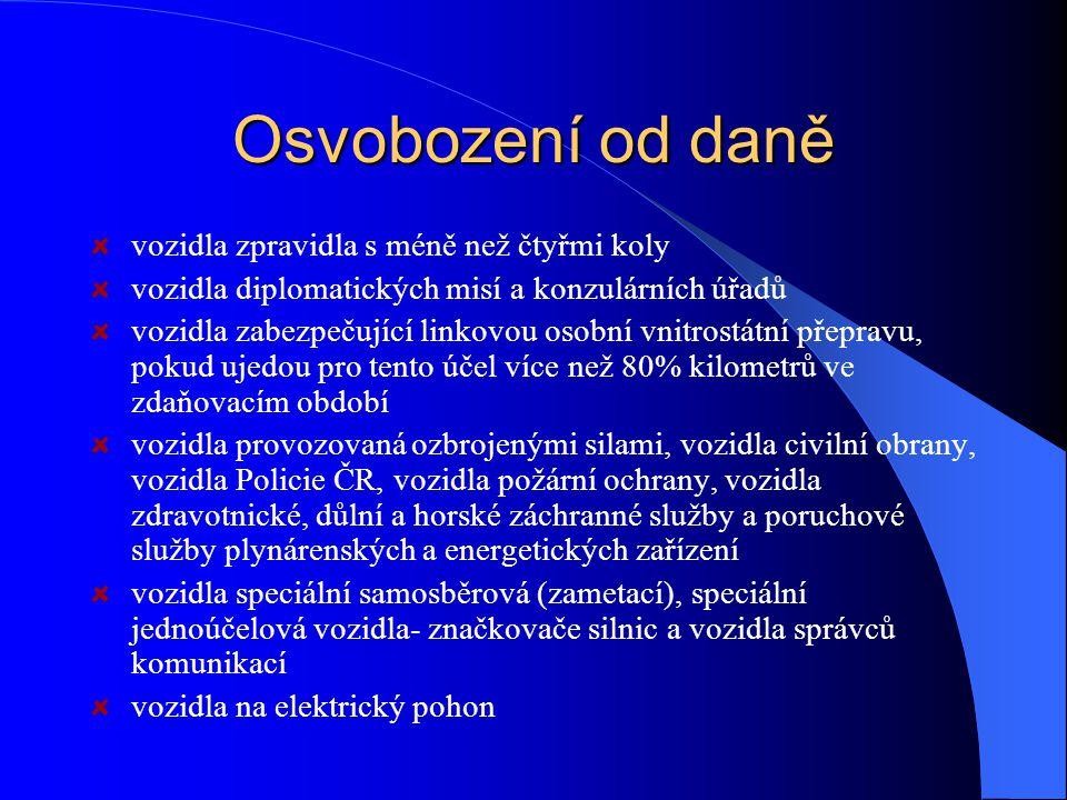 Předmět daně silniční motorová vozidla a jejich přípojná vozidla registrovaná a provozovaná v ČR, jsou-li používána k podnikání nebo k jiné samostatné