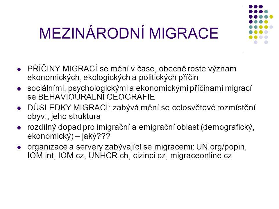 MEZINÁRODNÍ MIGRACE PŘÍČINY MIGRACÍ se mění v čase, obecně roste význam ekonomických, ekologických a politických příčin sociálními, psychologickými a ekonomickými příčinami migrací se BEHAVIOURALNÍ GEOGRAFIE DŮSLEDKY MIGRACÍ: zabývá mění se celosvětové rozmístění obyv., jeho struktura rozdílný dopad pro imigrační a emigrační oblast (demografický, ekonomický) – jaký??.