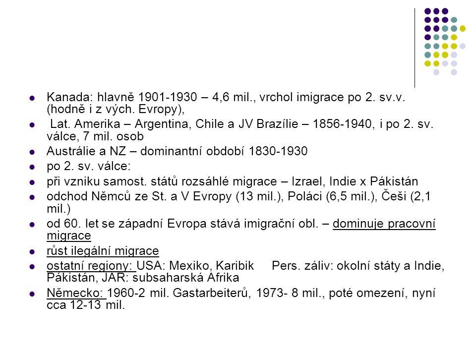 Kanada: hlavně 1901-1930 – 4,6 mil., vrchol imigrace po 2. sv.v. (hodně i z vých. Evropy), Lat. Amerika – Argentina, Chile a JV Brazílie – 1856-1940,