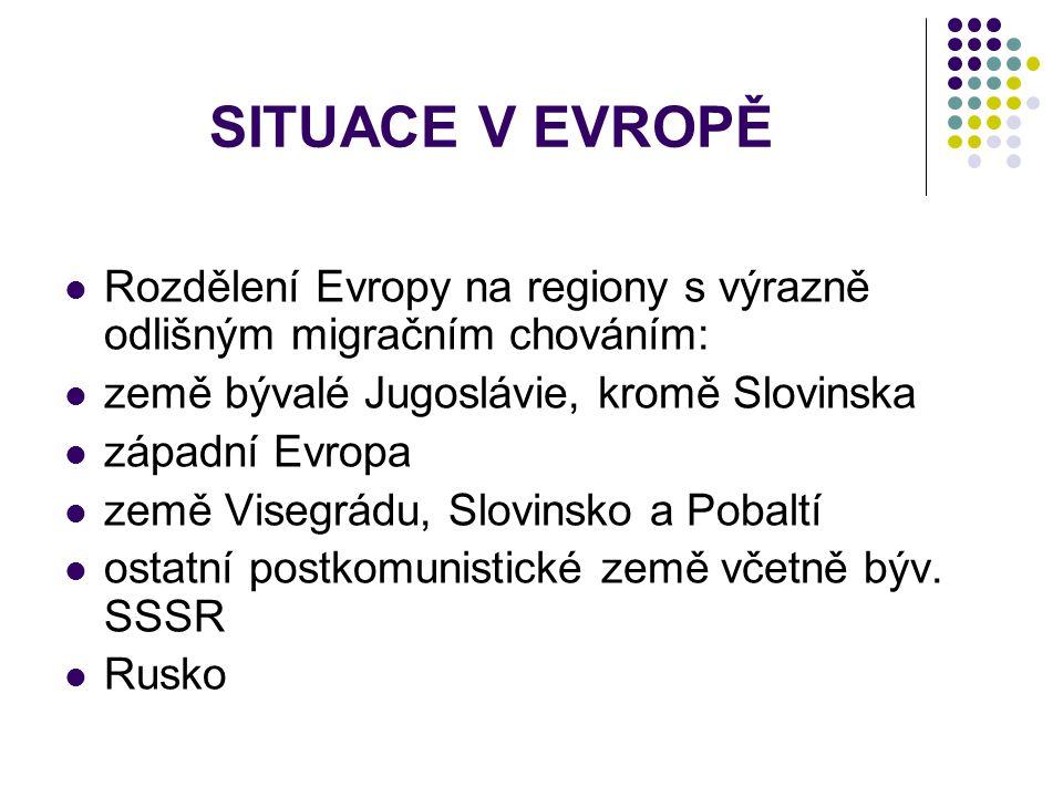 SITUACE V EVROPĚ Rozdělení Evropy na regiony s výrazně odlišným migračním chováním: země bývalé Jugoslávie, kromě Slovinska západní Evropa země Visegrádu, Slovinsko a Pobaltí ostatní postkomunistické země včetně býv.