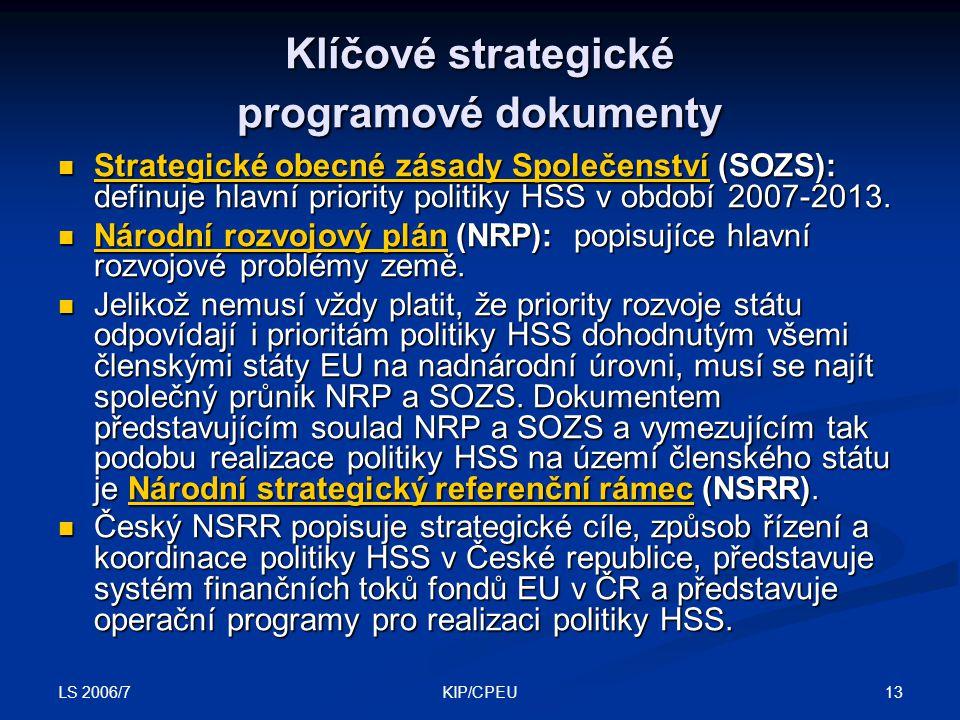 LS 2006/7 13KIP/CPEU Klíčové strategické programové dokumenty Strategické obecné zásady Společenství (SOZS): definuje hlavní priority politiky HSS v období 2007-2013.