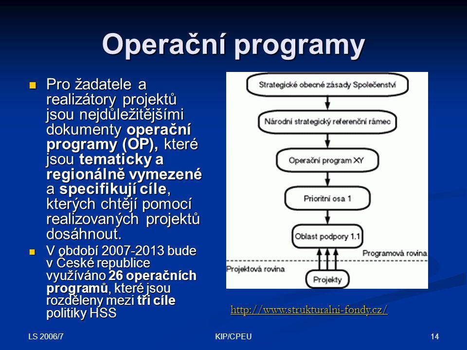 LS 2006/7 14KIP/CPEU Operační programy Pro žadatele a realizátory projektů jsou nejdůležitějšími dokumenty operační programy (OP), které jsou tematicky a regionálně vymezené a specifikují cíle, kterých chtějí pomocí realizovaných projektů dosáhnout.