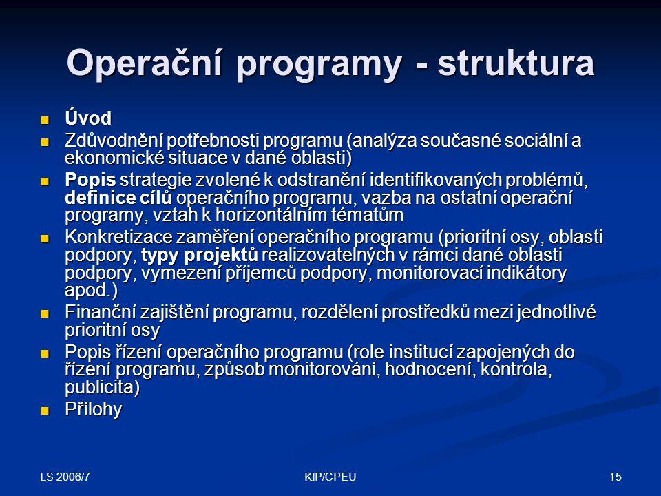 LS 2006/7 15KIP/CPEU Operační programy - struktura Úvod Úvod Zdůvodnění potřebnosti programu (analýza současné sociální a ekonomické situace v dané ob